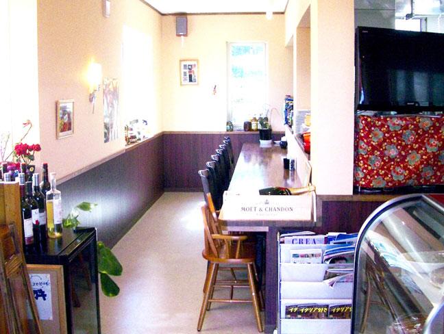 自他リア料理店、オステリアミオ店内の写真